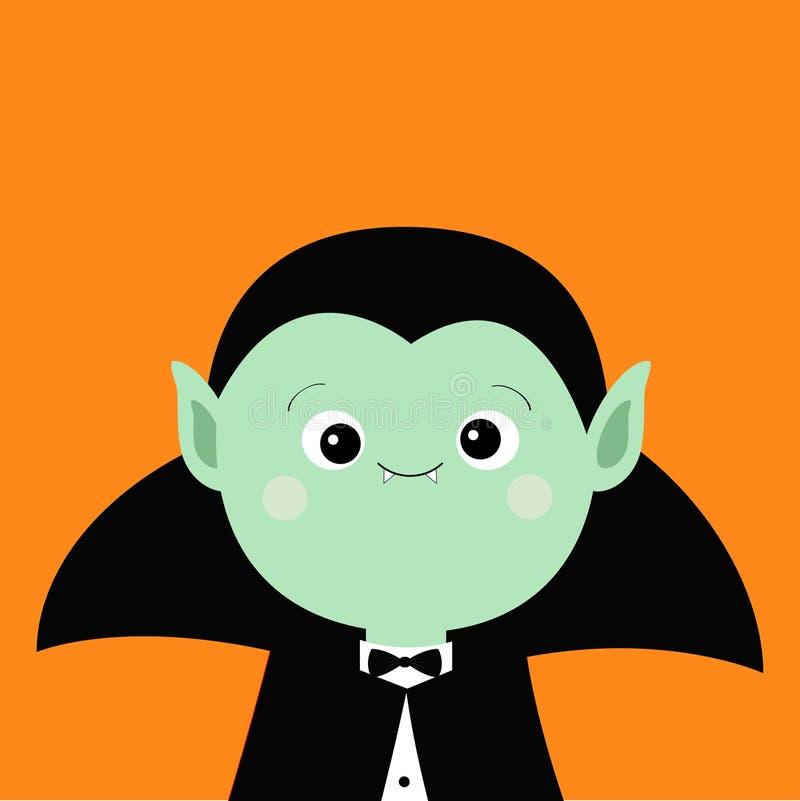 Cuenta Drácula headwearing el cabo negro y rojo Carácter lindo del vampiro de la historieta Cara triste verde con los colmillos V stock de ilustración