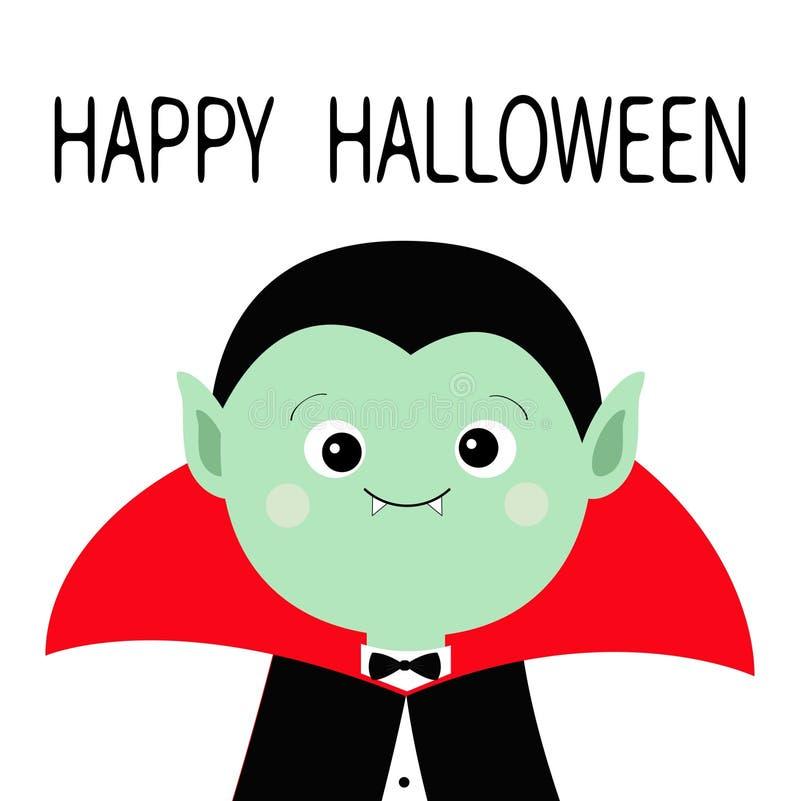 Cuenta Drácula headwearing el cabo negro y rojo Carácter lindo del vampiro de la historieta Cara verde con los colmillos Víspera  ilustración del vector