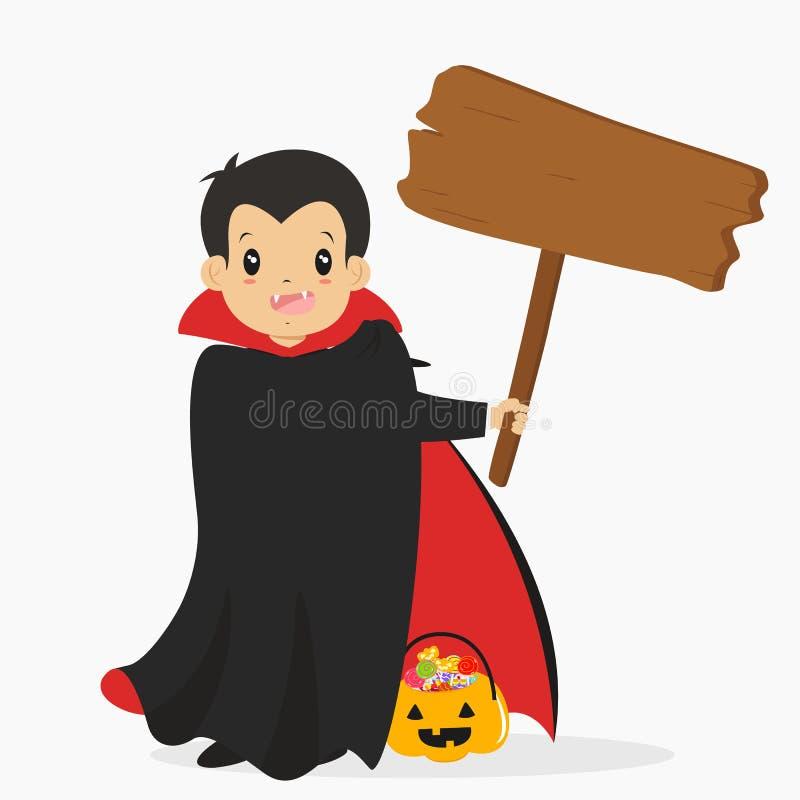 Cuenta Drácula que lleva a cabo una muestra de madera, vector de la historieta de Halloween libre illustration