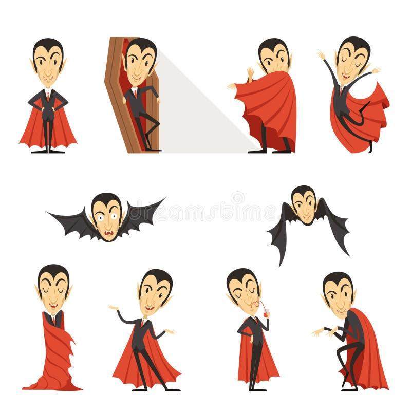 Cuenta Drácula que lleva el cabo rojo El sistema de caracteres lindos del vampiro de la historieta vector ejemplos stock de ilustración