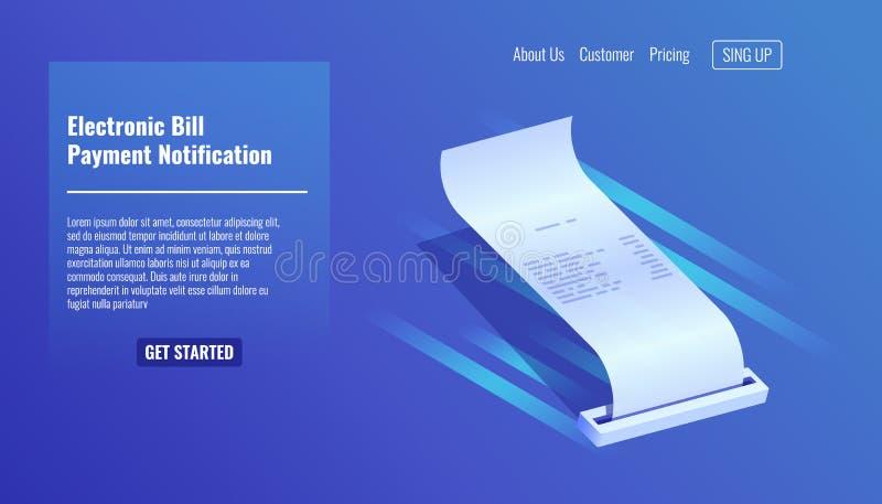 Cuenta electrónica, recibo del pago, vecor isométrico 3d de la notificación de la paga libre illustration