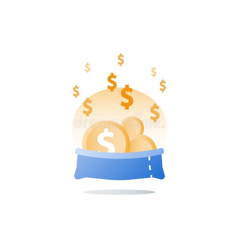 Cuenta financiera, obtenci?n de fondos, gesti?n del capital, control de flujo de dinero, inversi?n del valor, cuenta de ahorros ilustración del vector