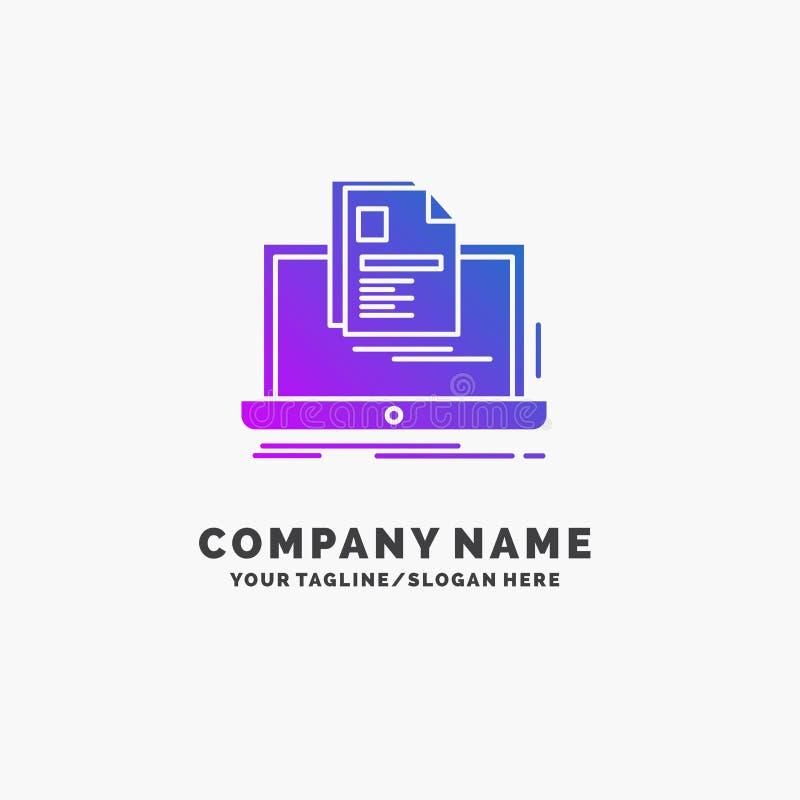cuenta, ordenador portátil, informe, impresión, negocio púrpura Logo Template del curriculum vitae Lugar para el Tagline stock de ilustración