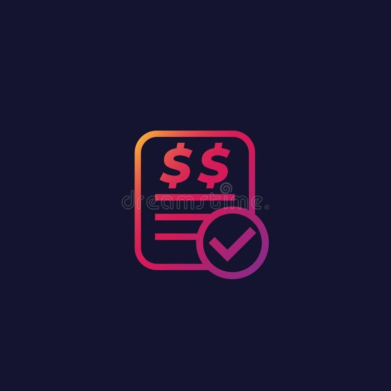 Cuenta pagada, icono de la forma de la factura ilustración del vector