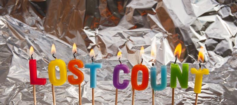 Cuenta perdida; feliz cumpleaños foto de archivo libre de regalías