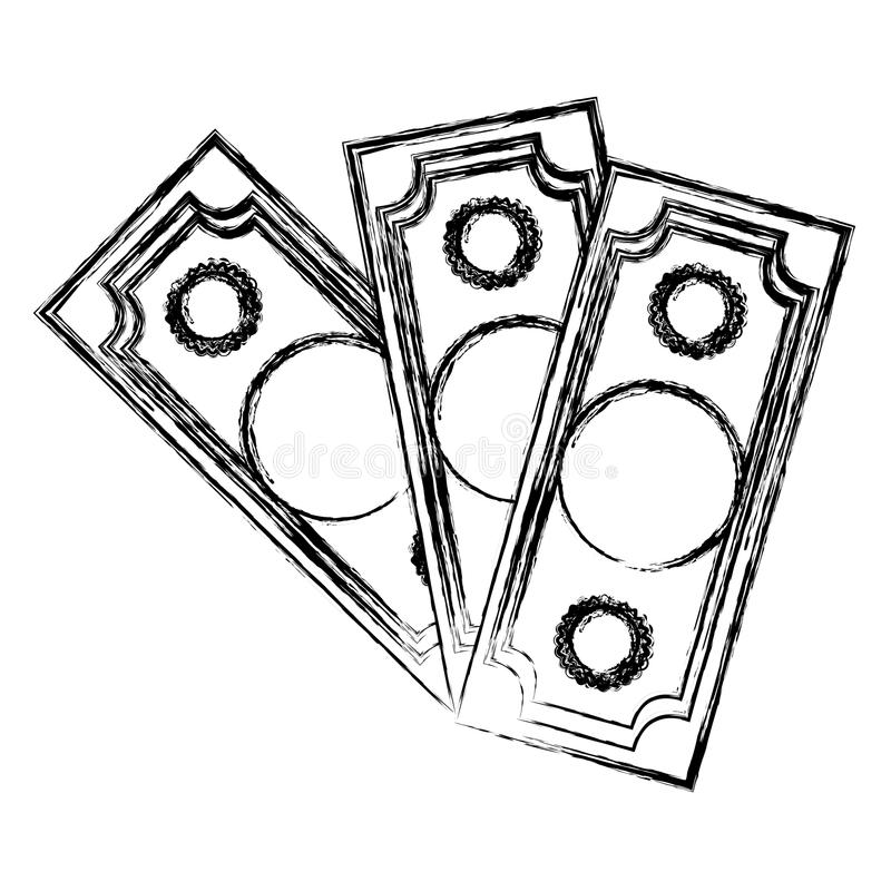 cuentas de dinero determinadas borrosas de la colección de la silueta libre illustration