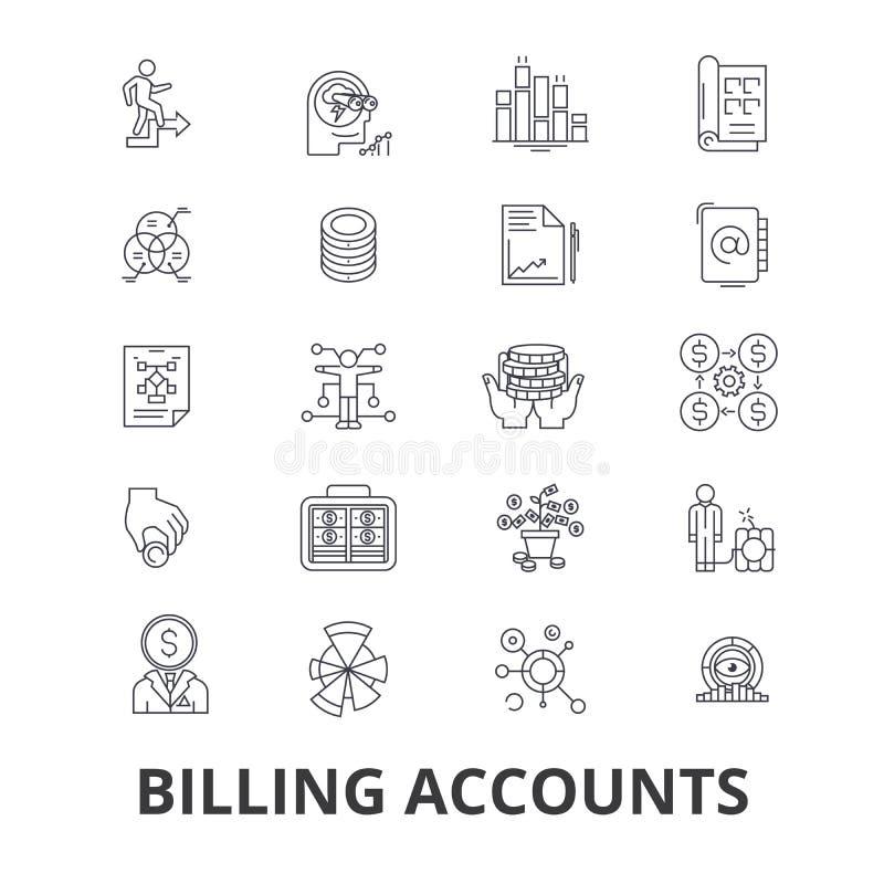 Cuentas de facturación, cuenta que paga, dinero, recibo, utilidad, deuda, control, línea iconos del pago Movimientos Editable Dis stock de ilustración
