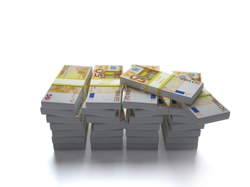 Cuentas euro en una pila en el fondo blanco fotos de archivo