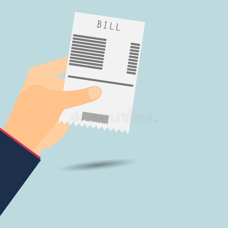Cuentas que pagan La mano lleva a cabo la factura Vector libre illustration
