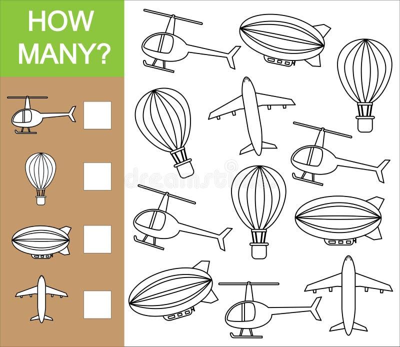 Cuente cuánto objeto del transporte aéreo Cuenta del juego educativo ilustración del vector