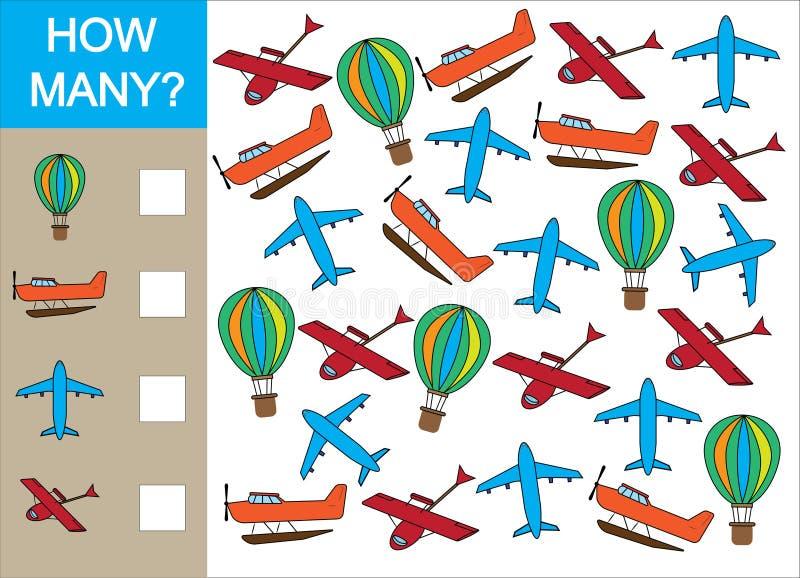 Cuente cuánto se opone el transporte aéreo y escriba el resultado ilustración del vector