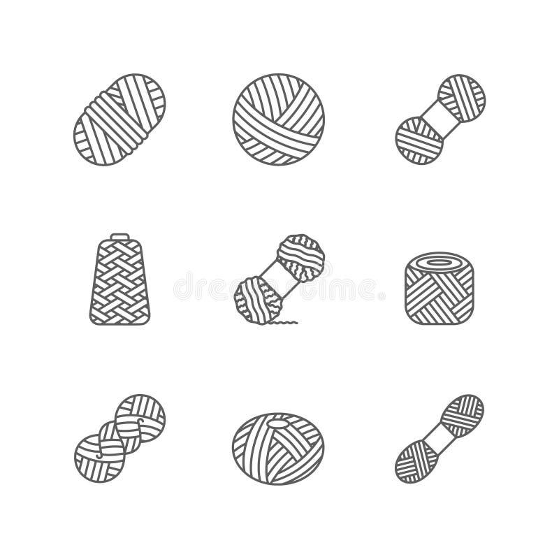Cuente un cuento de lana, la cachemira o la bola de acrílico para la afición que hace punto Icono de la madeja de la culata en T  ilustración del vector