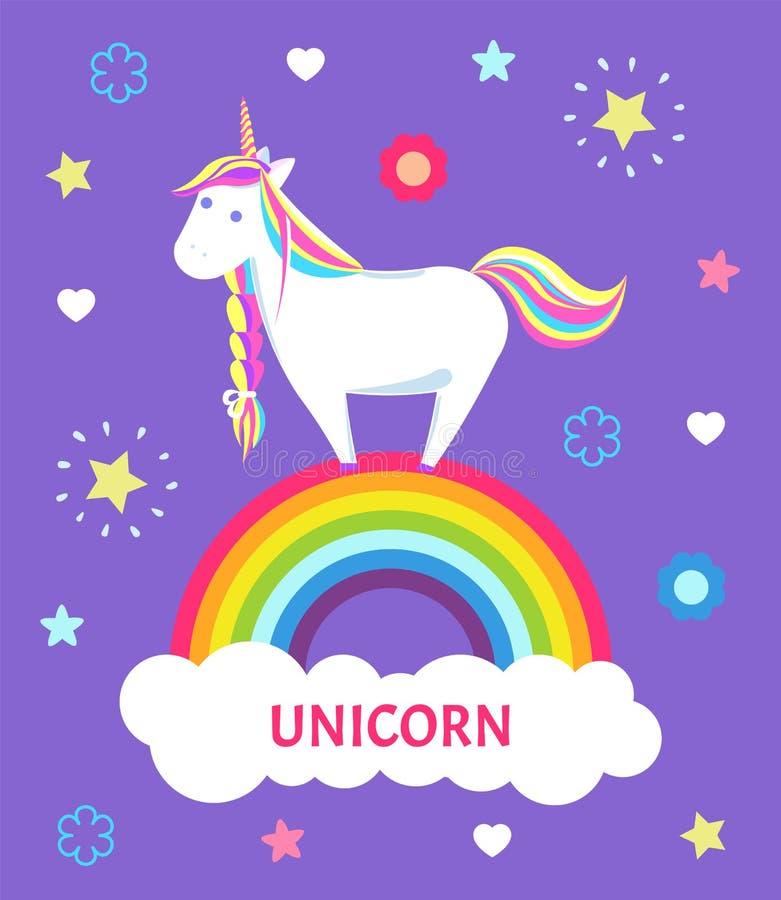 Cuento de hadas fantástico Unicorn Color Mane Sharp Horn ilustración del vector