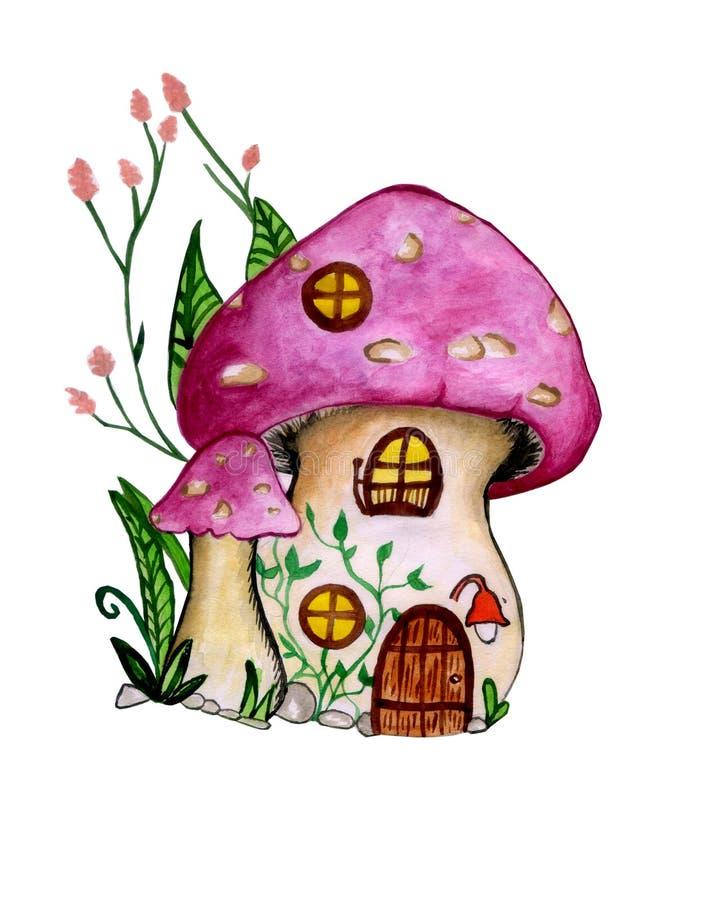 Cuento de hadas infantil lindo pintado a mano de la fantasía de la historieta del ejemplo de la acuarela de la casa del gnomo stock de ilustración