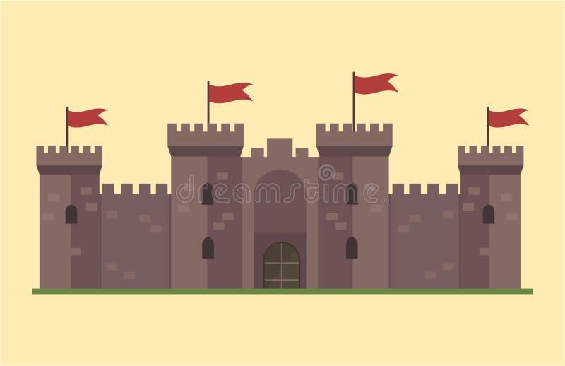 Cuento de hadas lindo de la casa de la fantasía de la arquitectura del icono de la torre del castillo del cuento de hadas de la h libre illustration