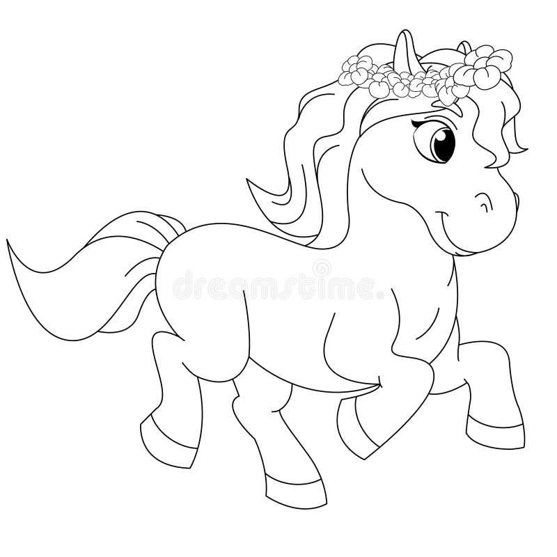 Cuento de hadas Pony Coloring Book Page stock de ilustración