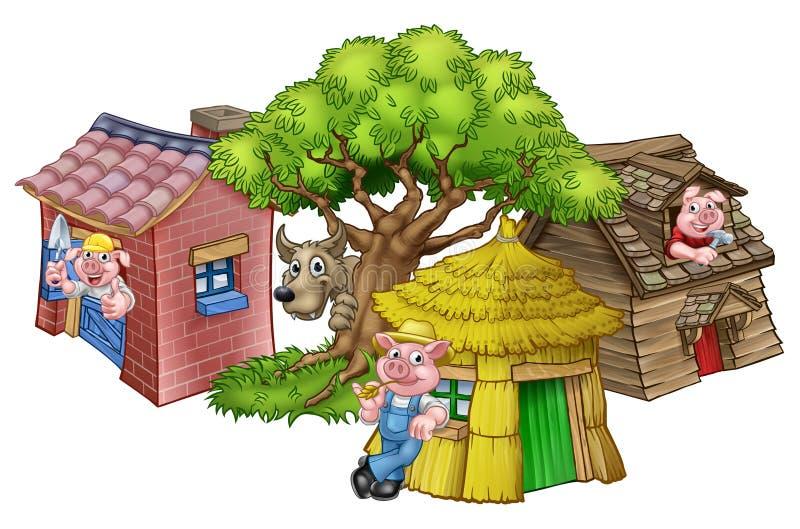 Cuento de hadas de tres el pequeño cerdos libre illustration