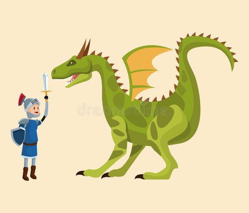 Cuento que lucha del caballero y del dragón stock de ilustración