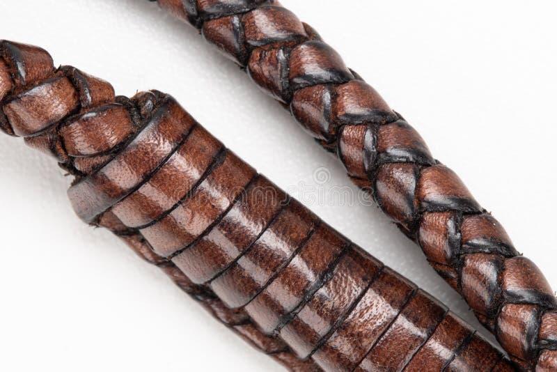 Cuerda de cuero Handcrafted en el fondo blanco fotografía de archivo libre de regalías