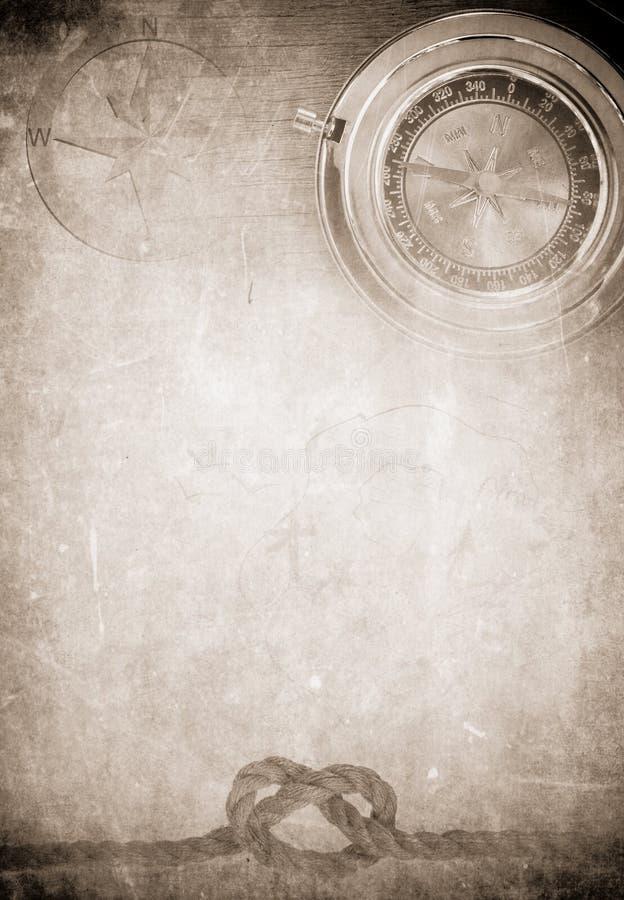 Cuerda de la nave en viejo fondo de papel del pergamino fotos de archivo libres de regalías