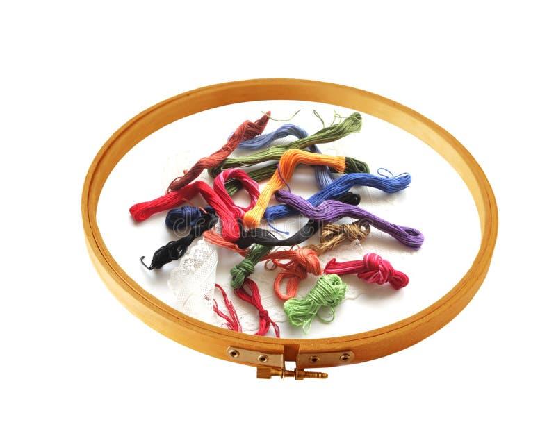 Cuerda de rosca y marco del bordado imagen de archivo libre de regalías