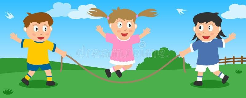 Cuerda de salto en el parque stock de ilustración