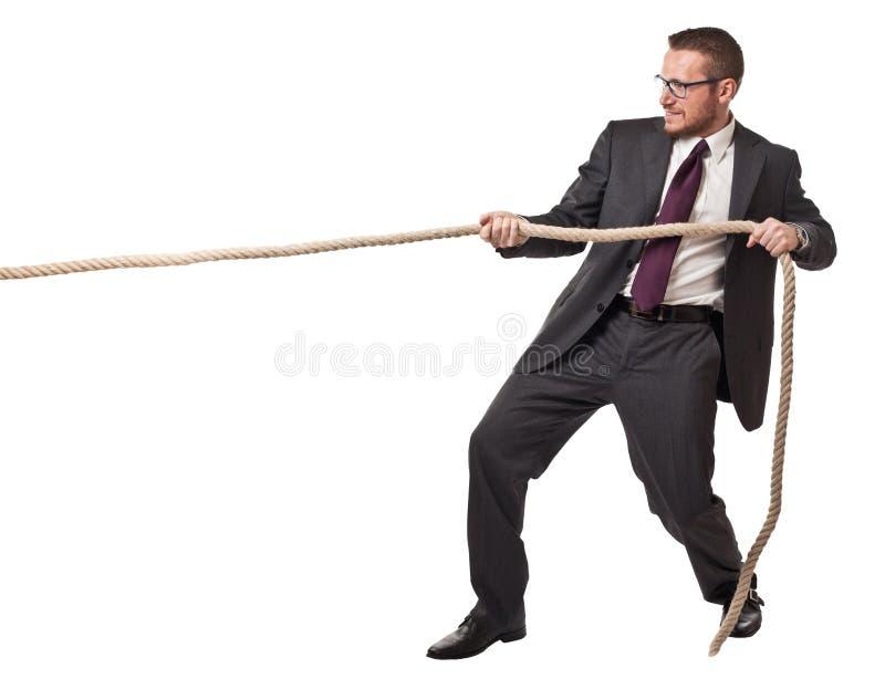 Cuerda de tirón del hombre foto de archivo