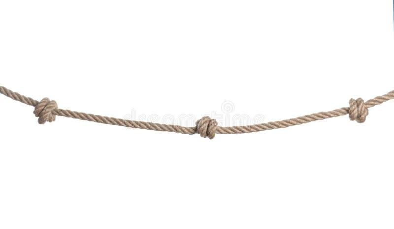 Cuerda del algodón con los nudos en blanco fotos de archivo libres de regalías