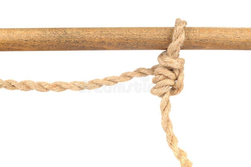Cuerda del yute con el nudo ajustable del tirón del apretón en blanco fotos de archivo