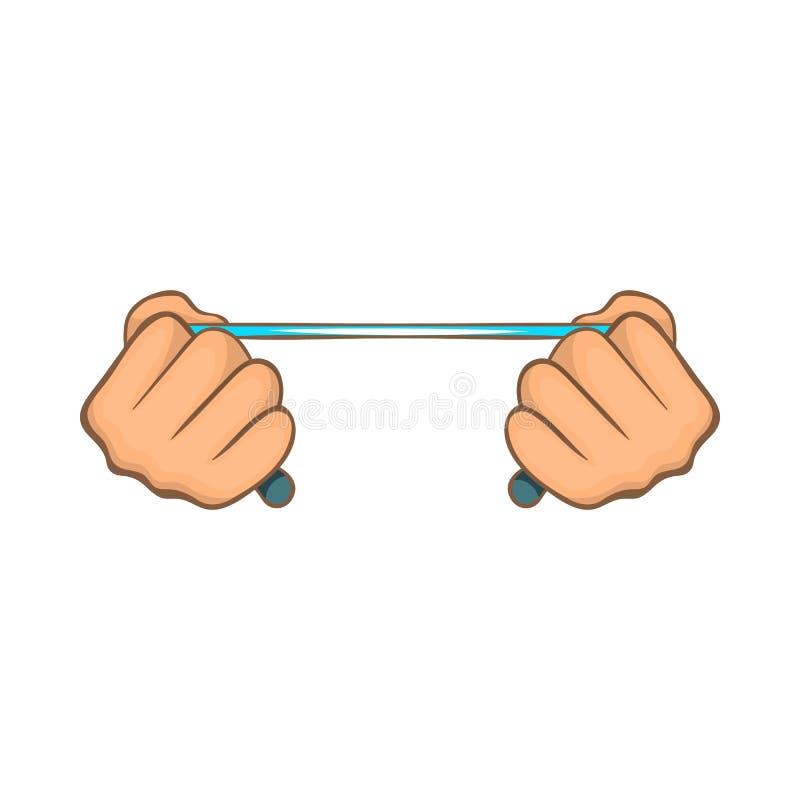 Cuerda en las manos icono, estilo de la historieta ilustración del vector