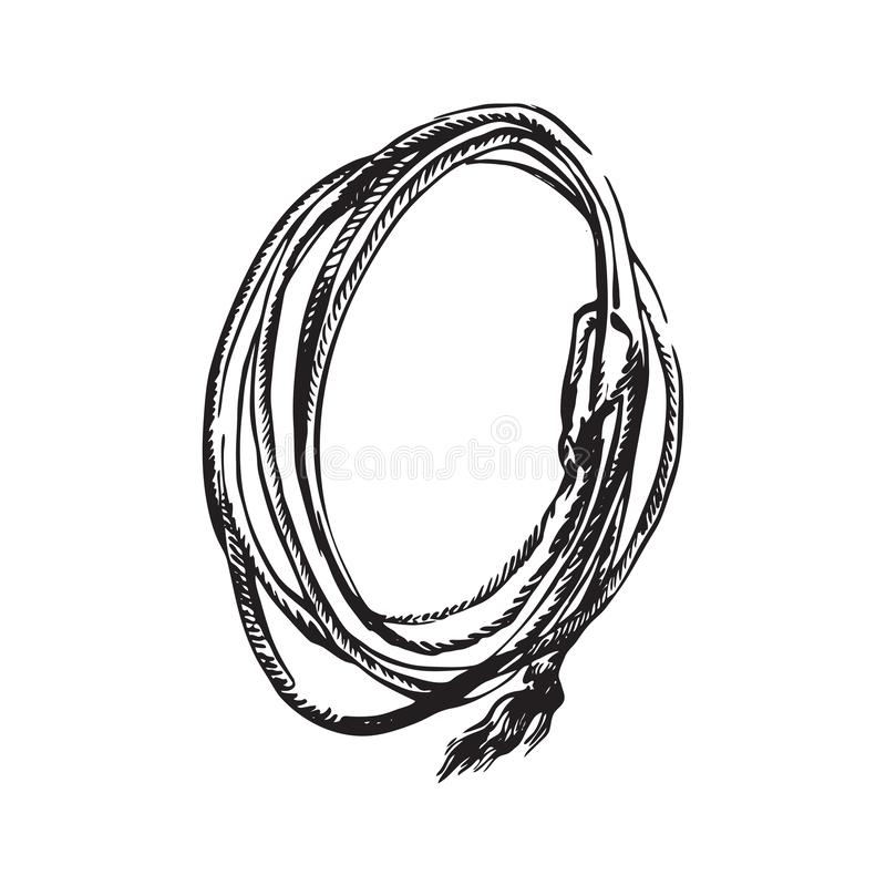 Cuerda exhausta del lazo de la mano El vaquero del rodeo apoya el ejemplo del vector Negro aislado en el fondo blanco libre illustration