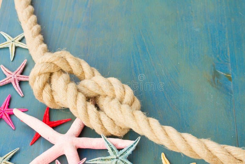 Cuerda marina con las estrellas de mar imagenes de archivo