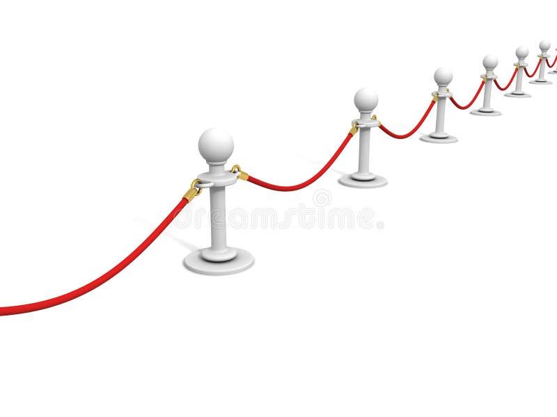 Cuerda roja del terciopelo y barrera del VIP de los soportes del blanco stock de ilustración