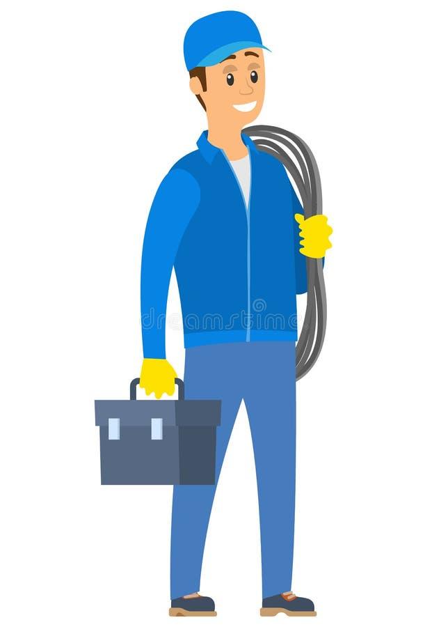 Cuerda y bolso, vector eléctrico de la tenencia del trabajador ilustración del vector