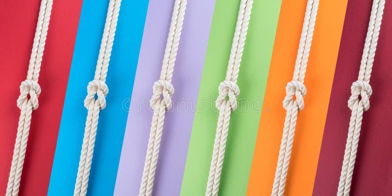 Cuerdas blancas de la nave conectadas por el nudo de filón en tiras coloreadas imagen de archivo libre de regalías
