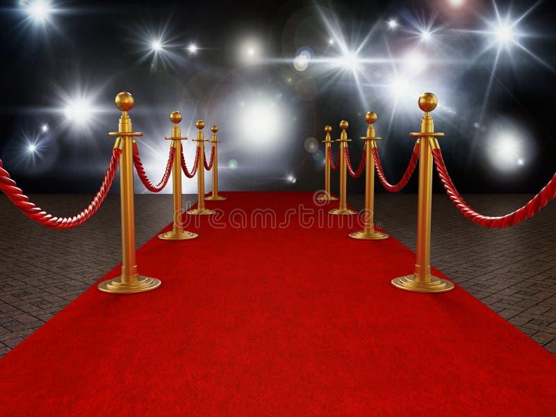 Cuerdas de la alfombra roja y del terciopelo en fondo de la noche de gala ilustración 3D stock de ilustración