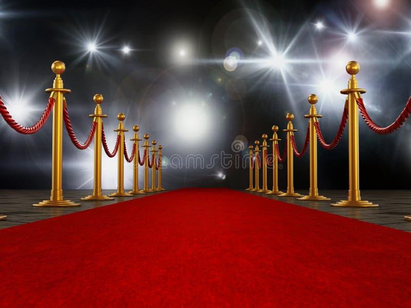 Cuerdas de la alfombra roja y del terciopelo en fondo de la noche de gala ilustración 3D ilustración del vector