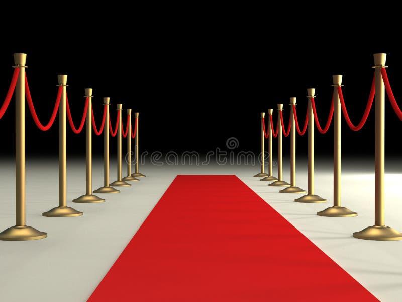 Cuerdas del terciopelo y alfombra roja stock de ilustración