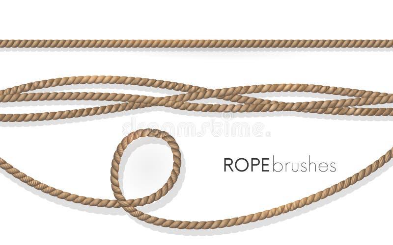 Cuerdas realistas de la fibra Cepillos de la cuerda El yute torció los cordones con los lazos aislados en el fondo blanco Element stock de ilustración