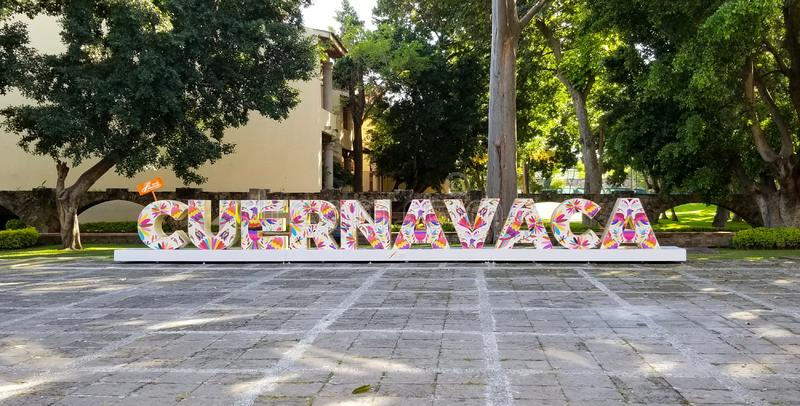 Cuernavaca, Mor, Mexico - December 19, 2018: Sign with city name in white letters with colorful Mexican-style decorations in Hacie stock image