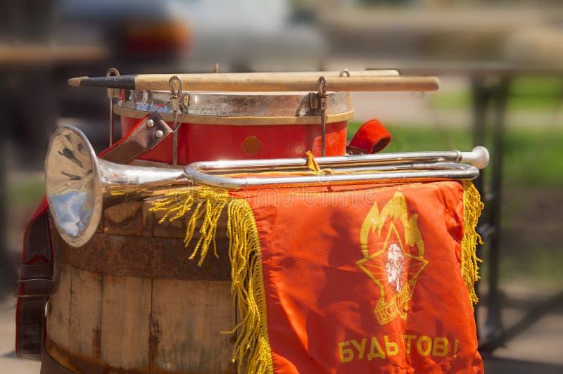 Cuerno de los palillos del tambor fotografía de archivo libre de regalías
