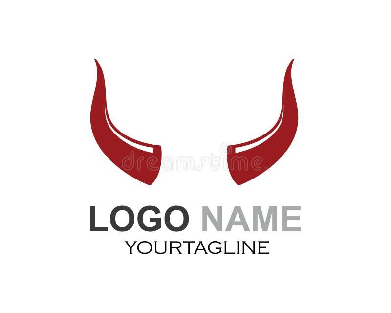 cuerno del diablo, vector animal del icono del logotipo del cuerno ilustración del vector