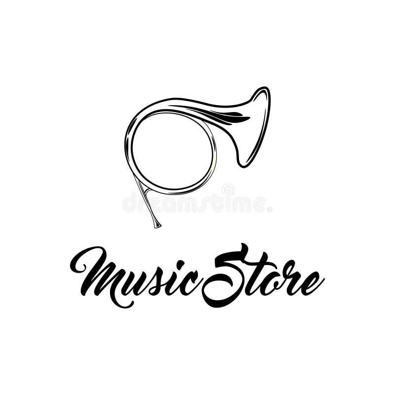 Cuerno musical francés, Tuba Icon Instrumento musical Logotipo de la tienda de la música Vector stock de ilustración