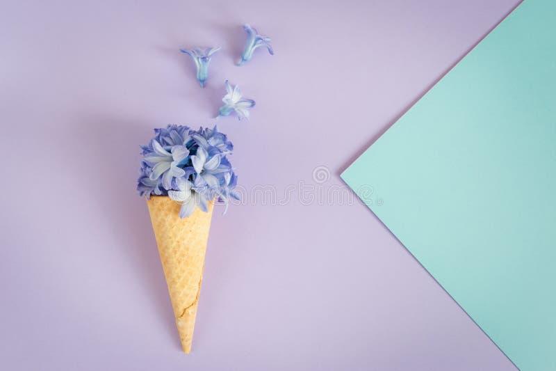 Cuerno o cono del helado con el jacinto púrpura en un fondo púrpura fotos de archivo libres de regalías