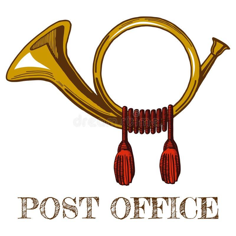 Cuerno postal de oro ilustración del vector