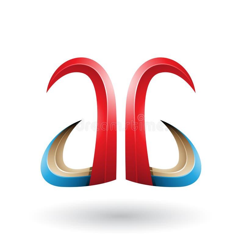 Cuerno rojo y azul 3d como la letra A y G aislado en un fondo blanco stock de ilustración