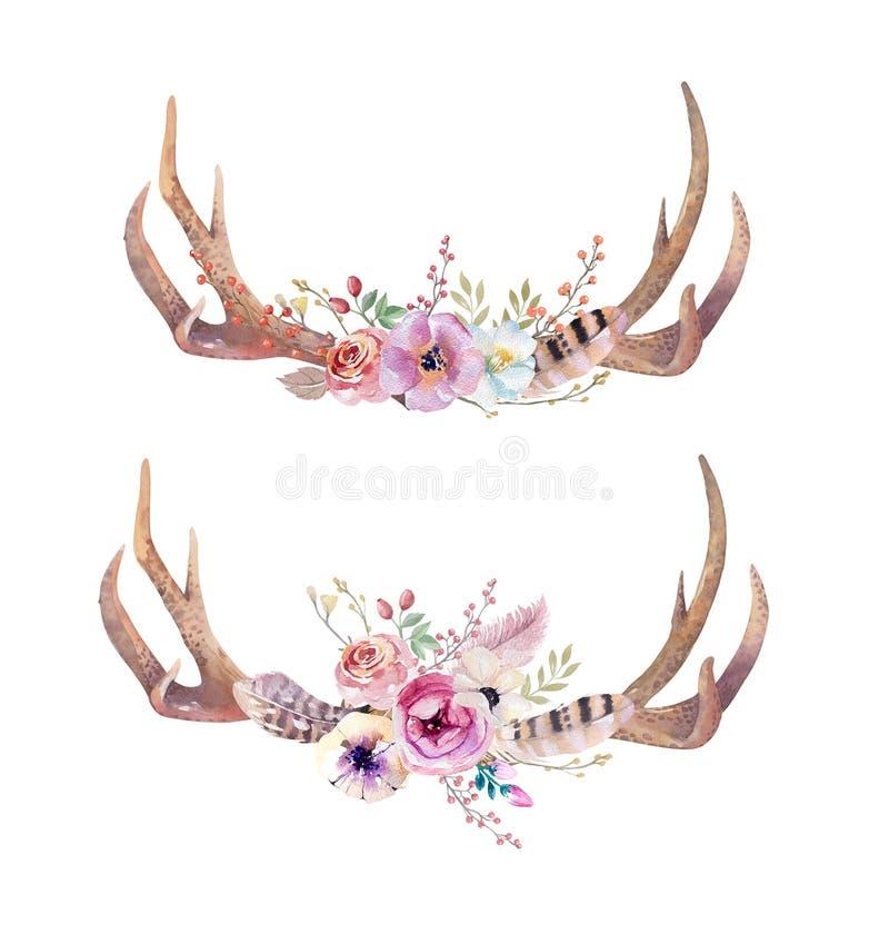 Cuernos bohemios de los ciervos de la acuarela Mamíferos occidentales Cadera del Watercolour stock de ilustración