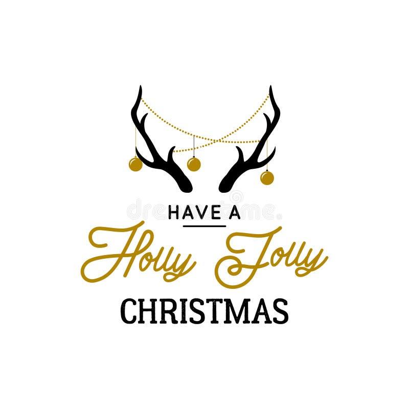 Cuernos de los ciervos con las guirnaldas y el texto decorativos Holly Jolly stock de ilustración