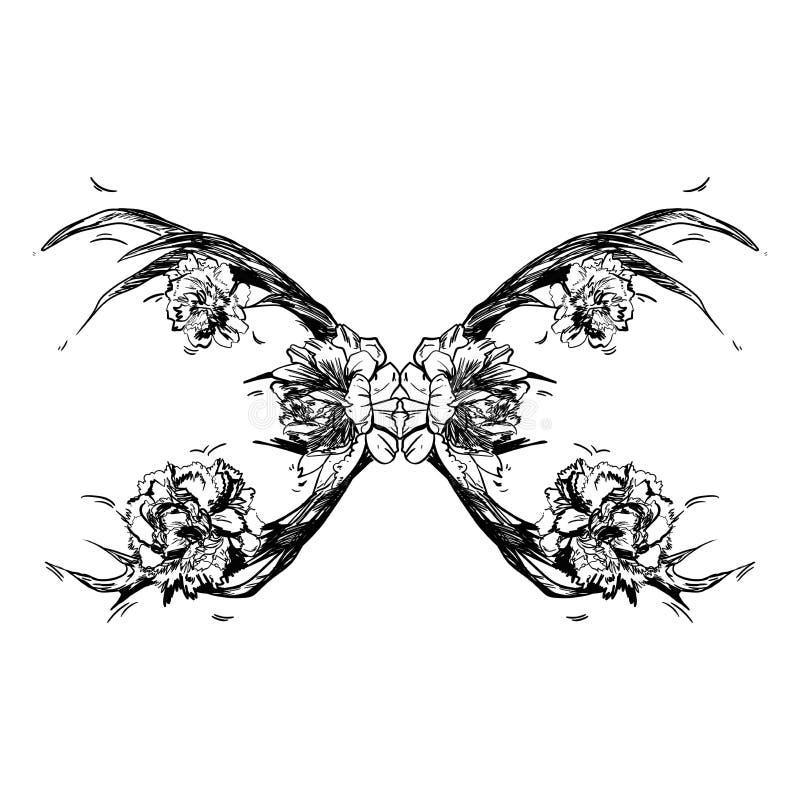 Cuernos de los ciervos jovenes en los cuales se plantan las peonías Ilustración Cree un tatuaje, un símbolo de la magia mística p libre illustration