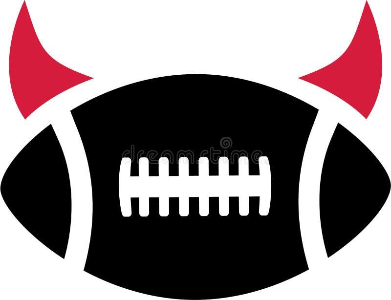 Cuernos del diablo del fútbol americano ilustración del vector